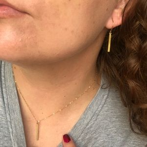 Jewelry - Minimalist 14k gold plated necklace/earring set